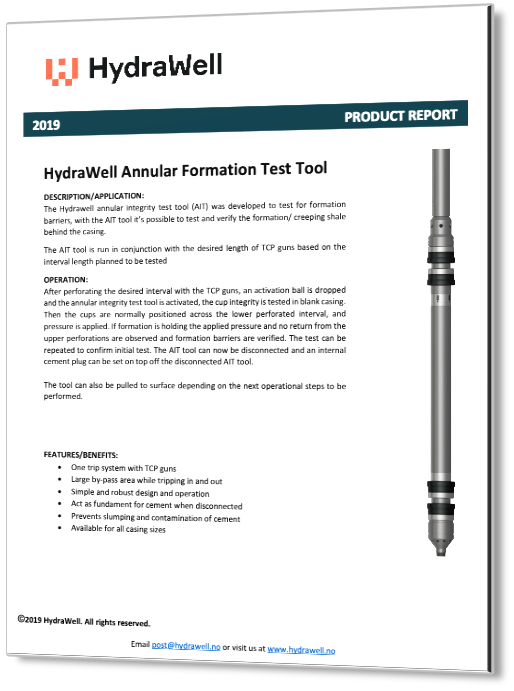 HydraWell Annular Integrity Product Report 2019 3D